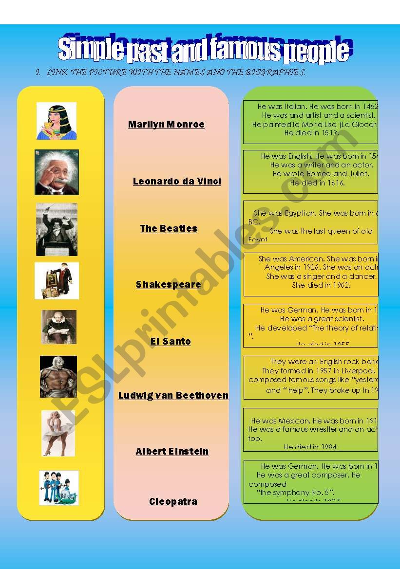 simple past and famous people biographies part 1.