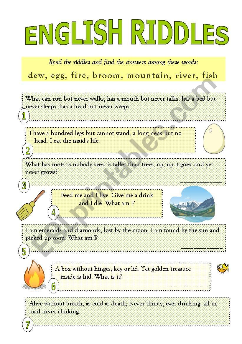 English Riddles With Answers Esl Worksheet By Missivana