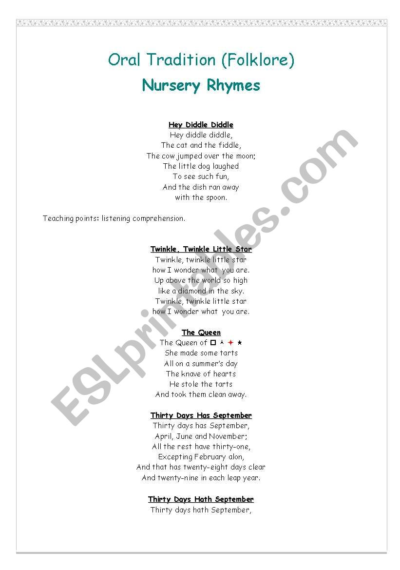 picture regarding Thirty Days Hath September Poem Printable titled English worksheets: Nursery Rhymes
