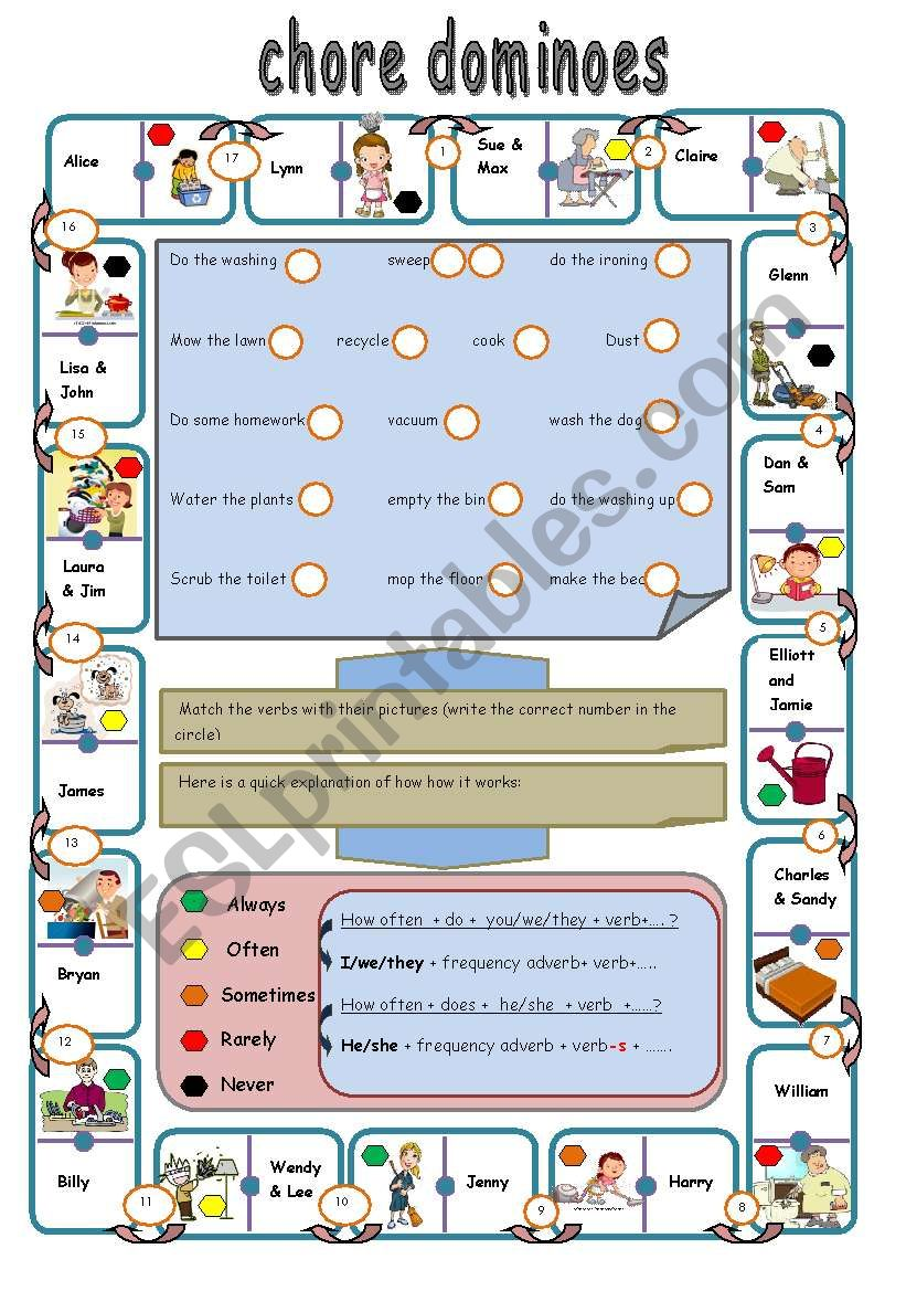 chores and frequency adverbs worksheet