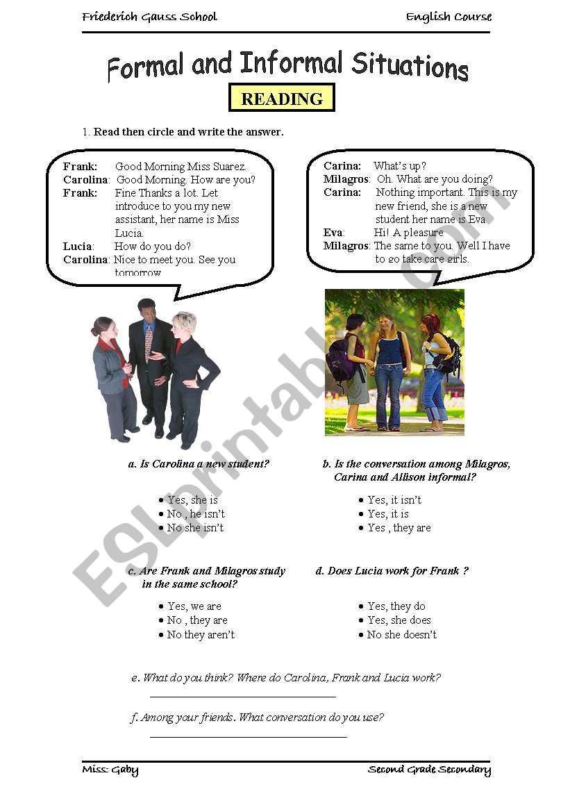Greetings Formal And Informal Situations Esl Worksheet By Gabylu4u