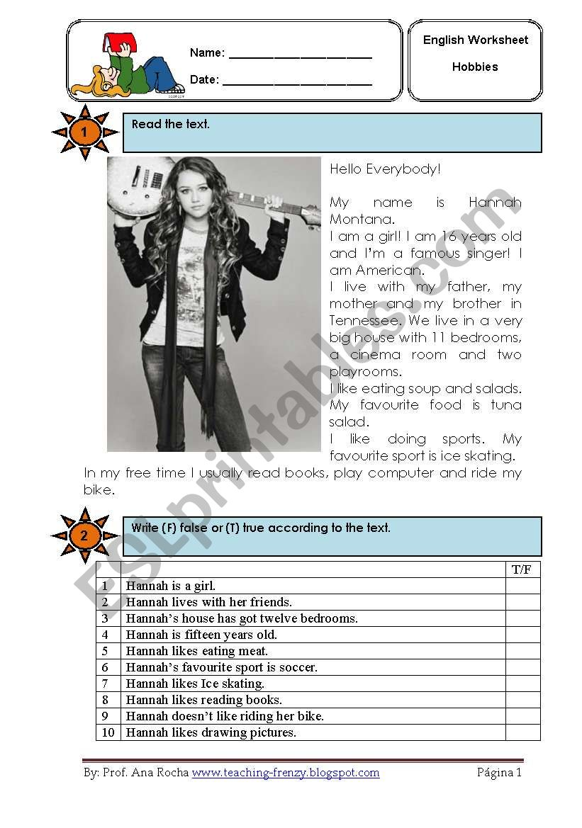 Hannah Montana reading co.  worksheet