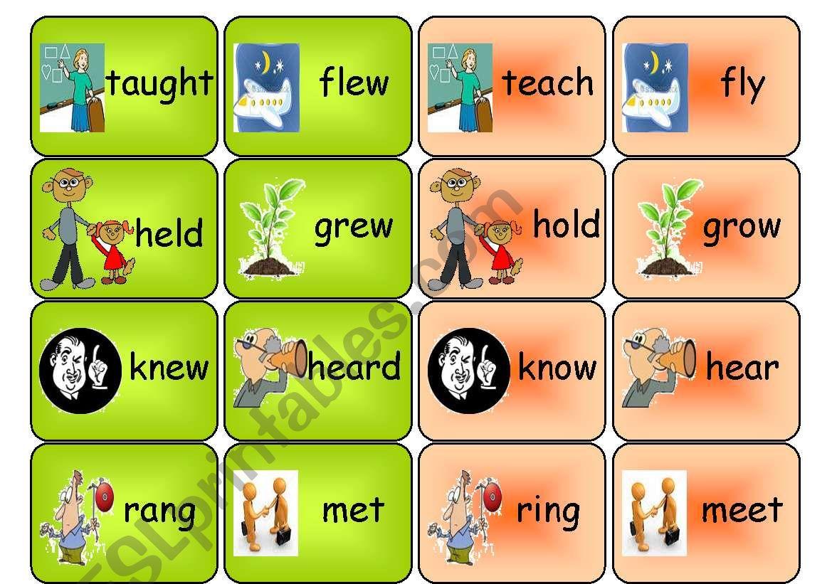 irregular verbs- memory game worksheet