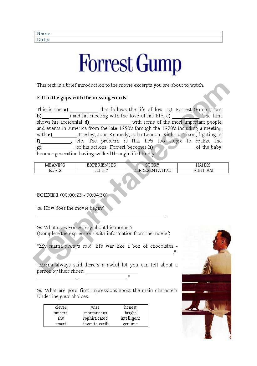 Forrest Gump - analysing some excerpts from the DVD