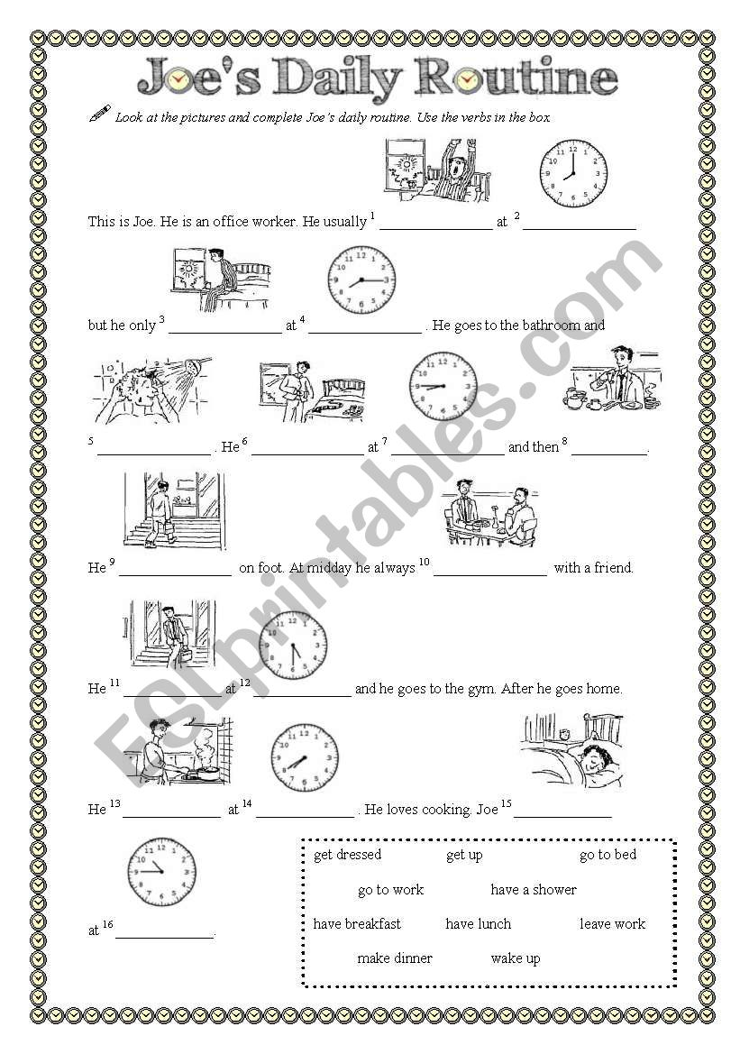 joe s daily routine esl worksheet by bcorreia. Black Bedroom Furniture Sets. Home Design Ideas