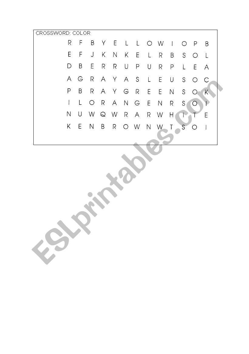 Crossword- colours worksheet