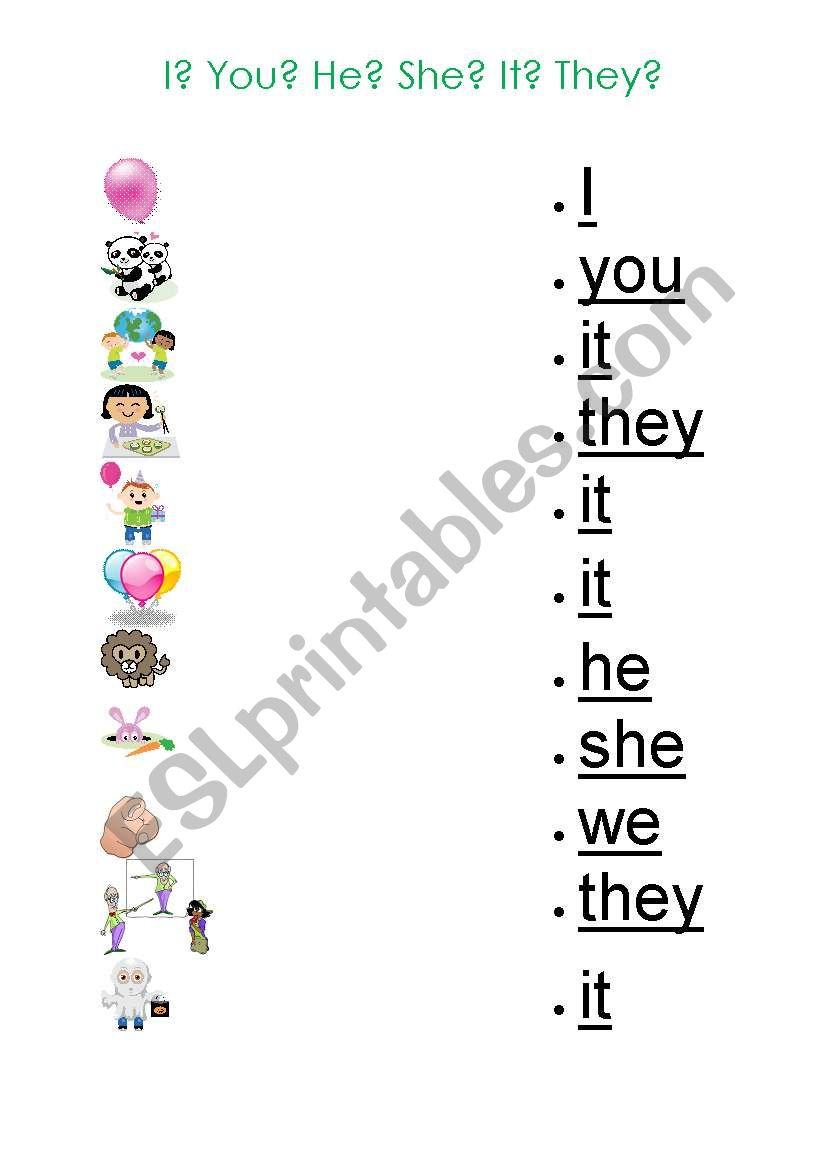 Pronouns Worksheet for Kids - ESL worksheet by gizmogwai