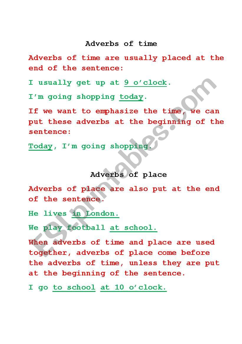 Adverbs of time and place  worksheet