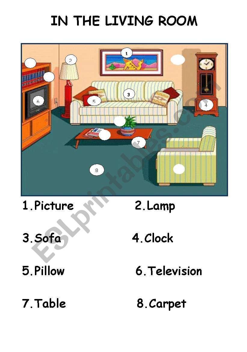 In The Living Room Furniture Esl Worksheet By Lena68