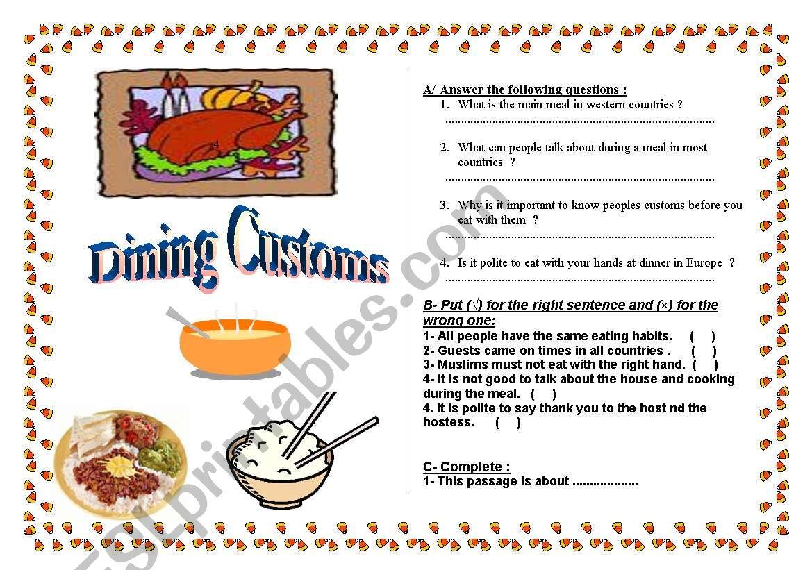 Dining Customs worksheet