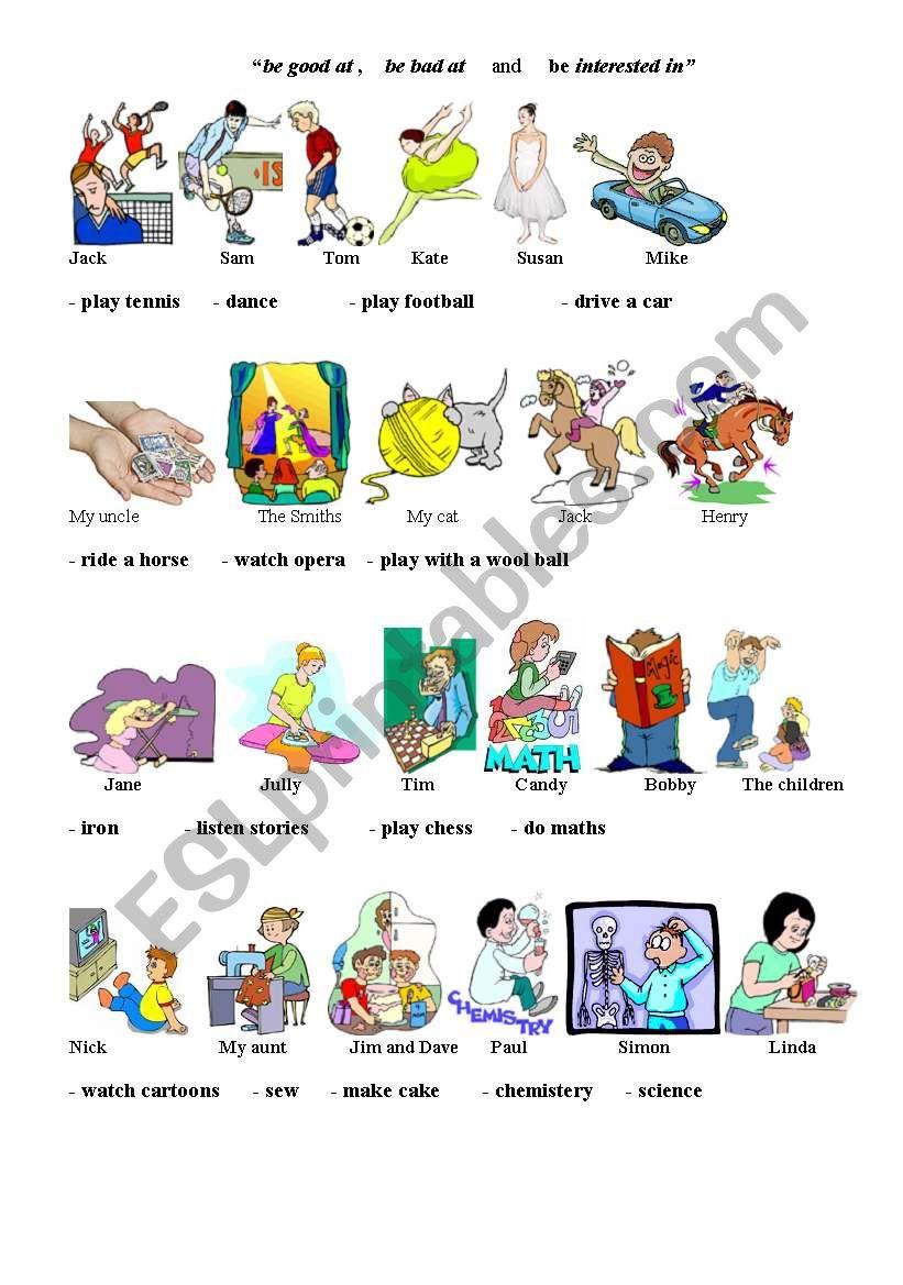 adjectives + prepositions worksheet