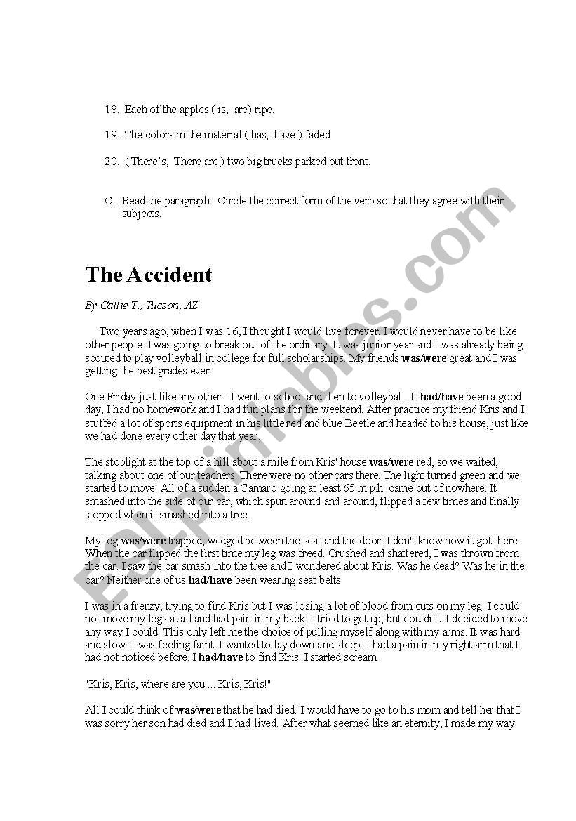 English Worksheets Subject Verb Agreement Test