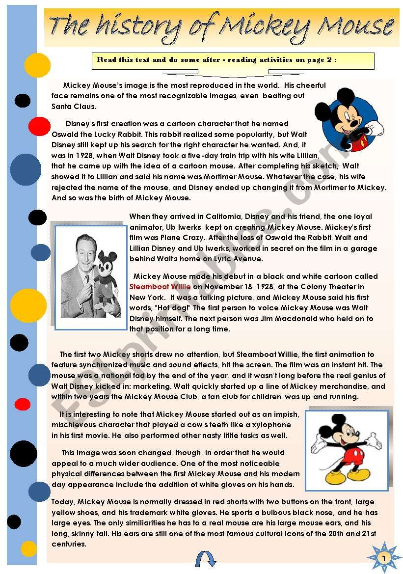THE HISTORY OF MICKEY MOUSE - READING + SOME AFTER-READING ACTIVITIES (2pages)