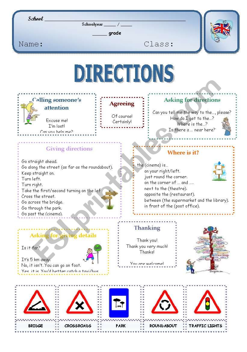 Directions worksheet