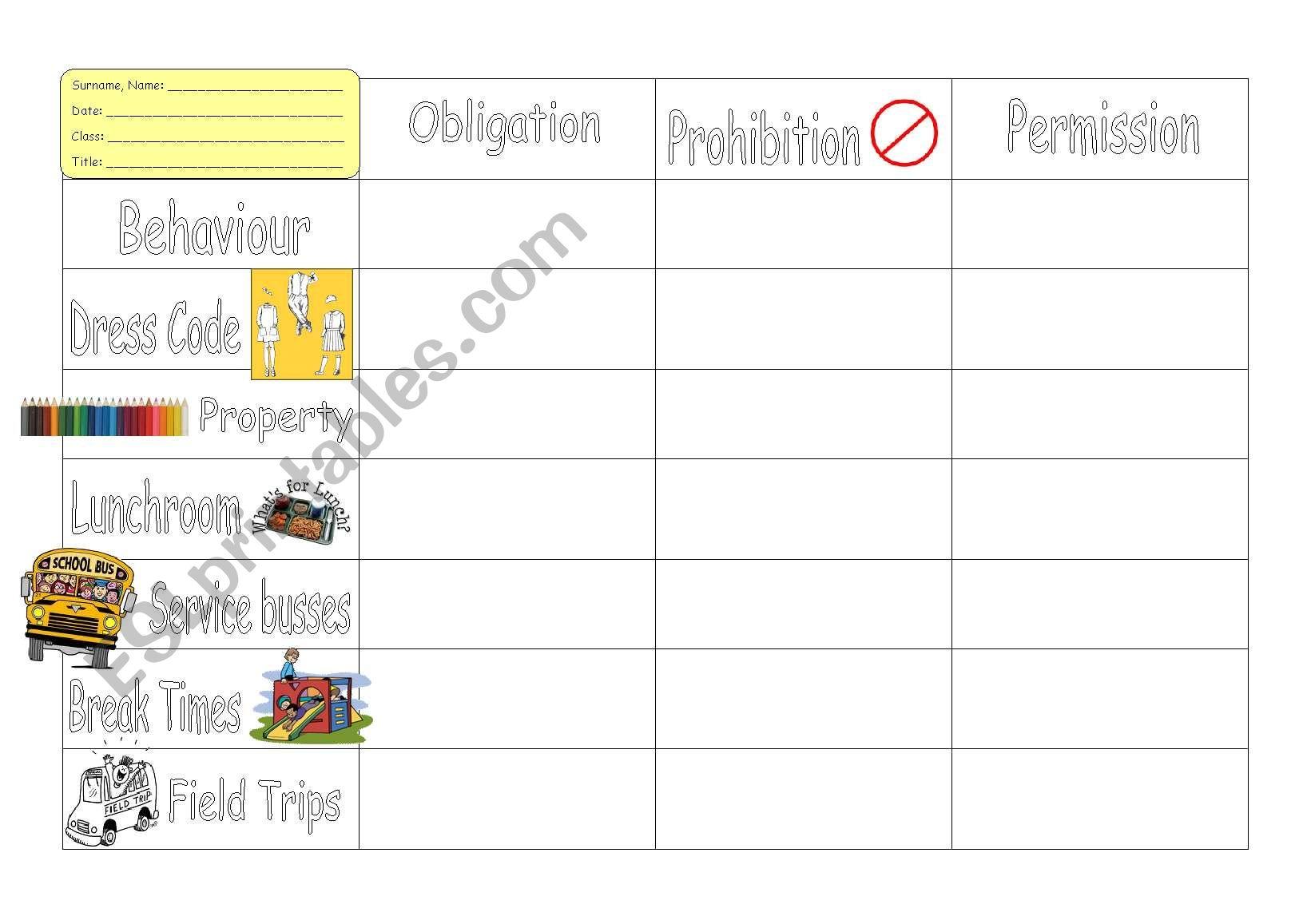 My dream school worksheet
