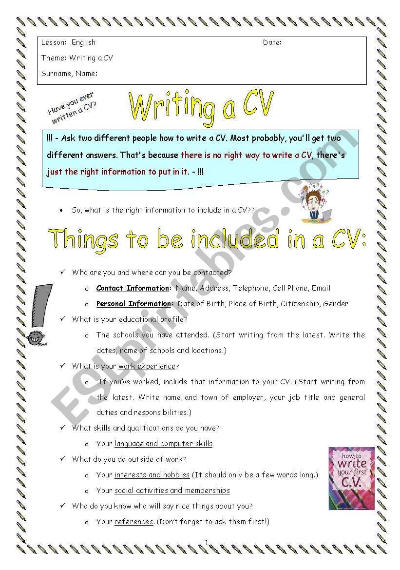 Cv Writing Esl Worksheet By Oylesine