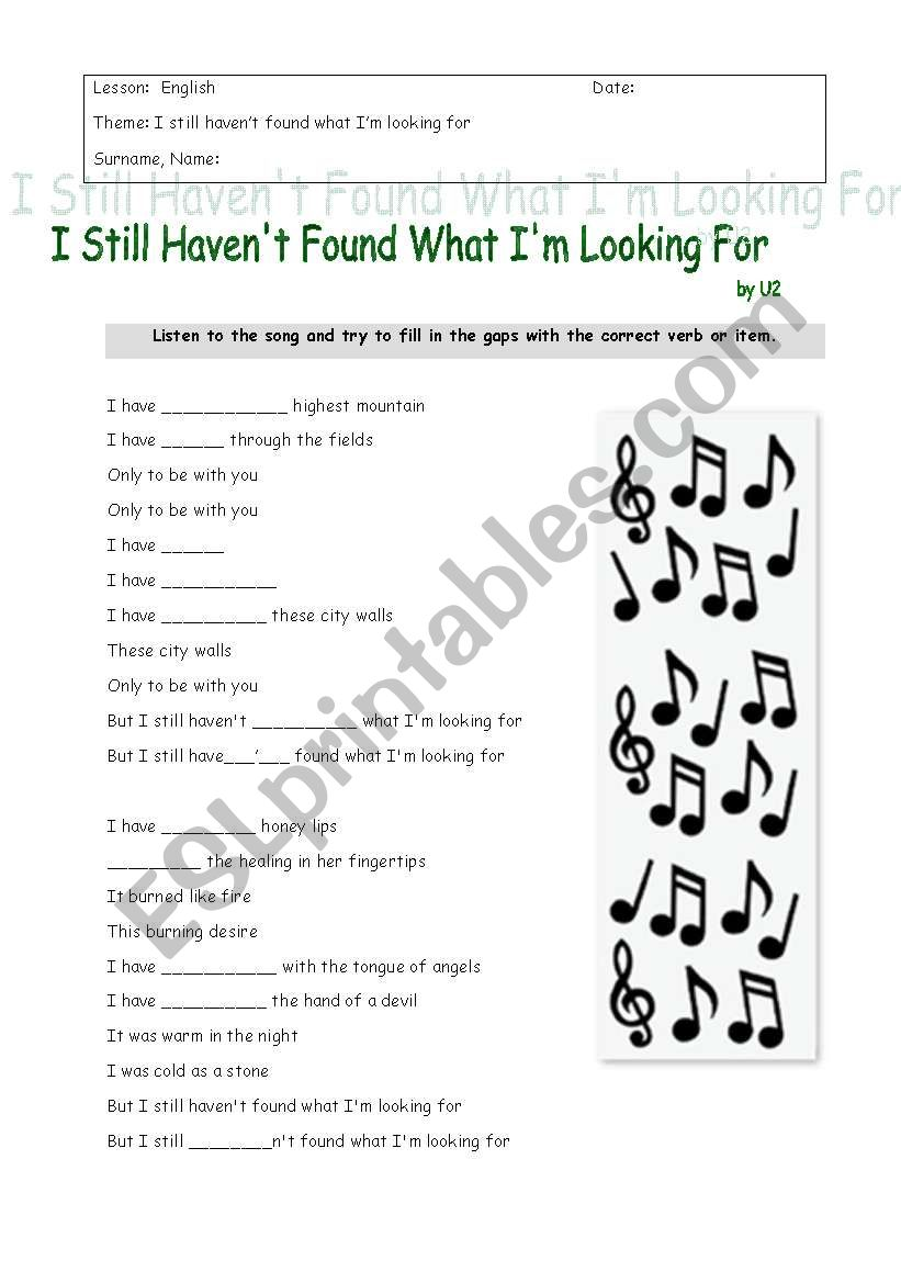 I still haven´t found what I´m looking for - U2 song