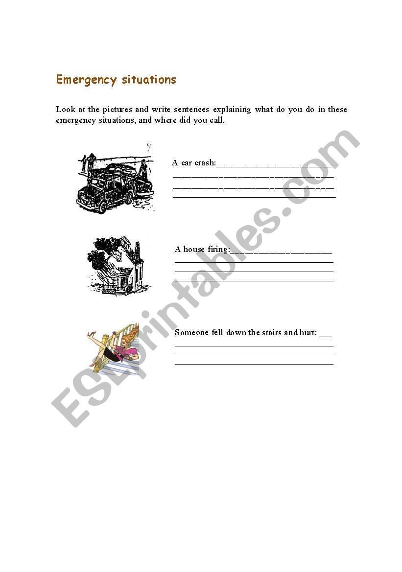 English worksheets: Emergency situations