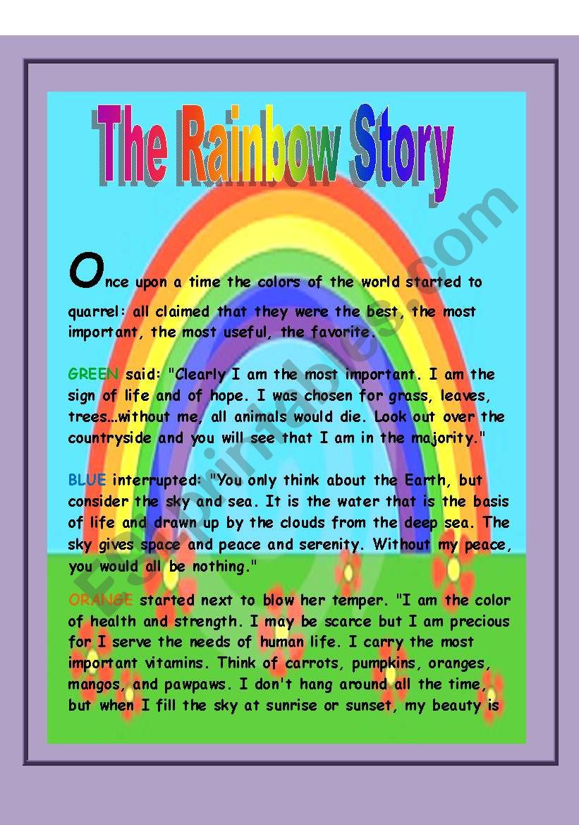 The rainbow story worksheet