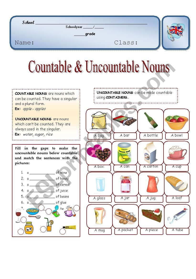 Countable & Uncountable nouns worksheet