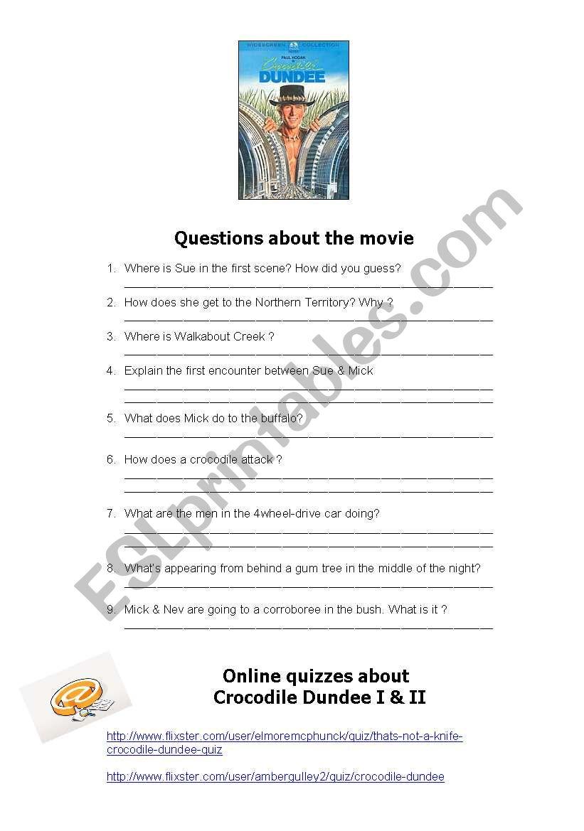 Crocodile Dundee quiz  worksheet