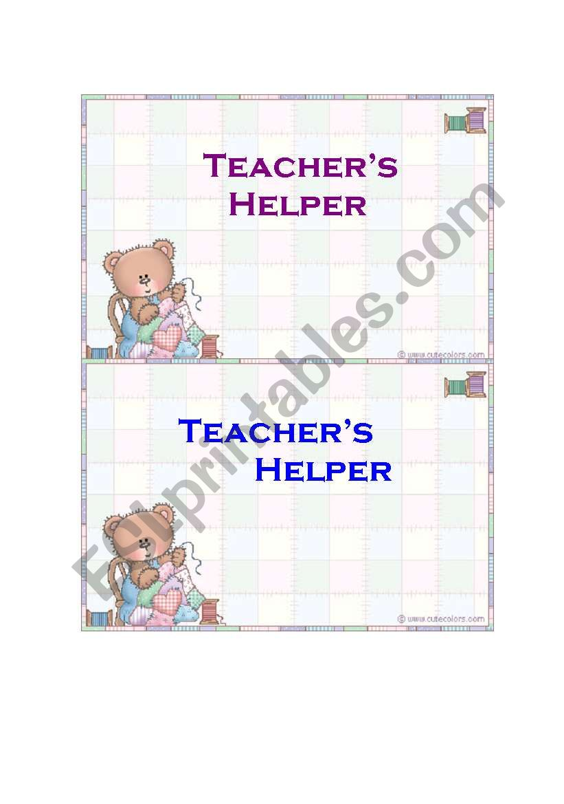 Teacher´s helper - ESL worksheet by Etche