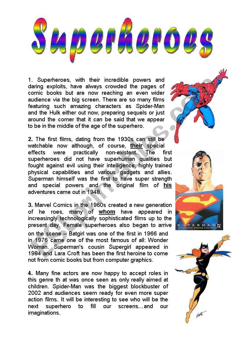 superheroes reading comprehension
