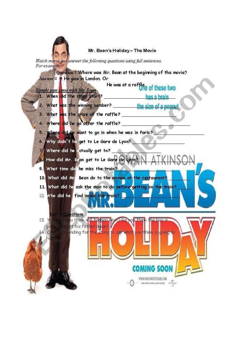 Mr. Bean´s Holiday worksheet
