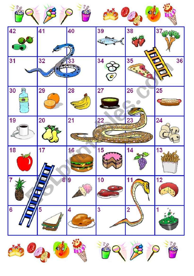 Food Snakes and Ladders worksheet