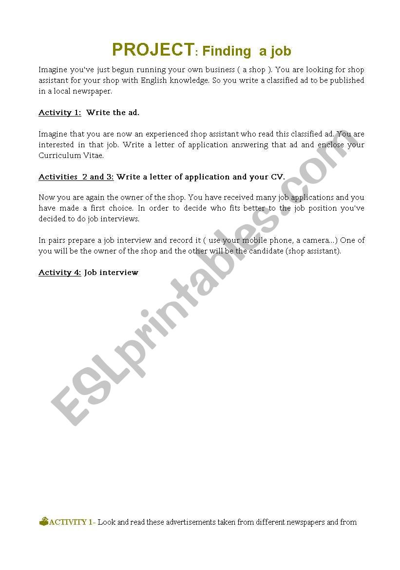 English worksheets: Project: Finding a job 1/3