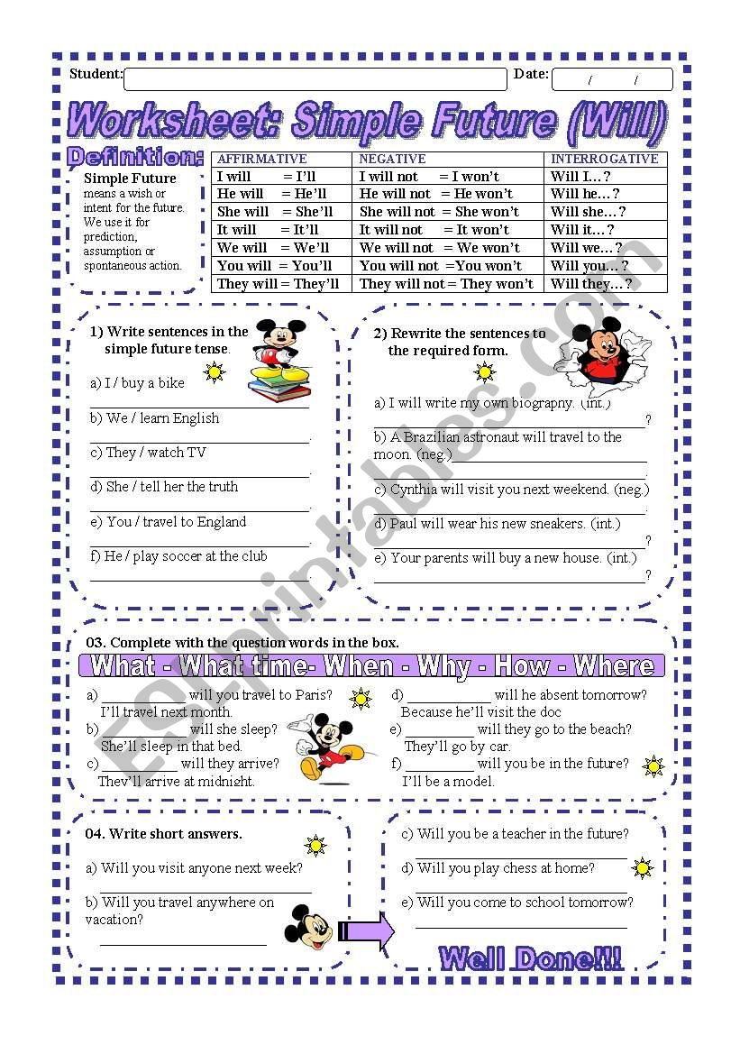 Worksheet: Simple Future (Will) - Explanation & exercise