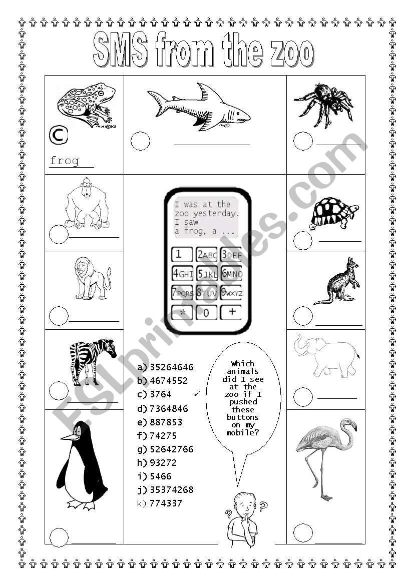 SMS from the zoo (1/2) worksheet