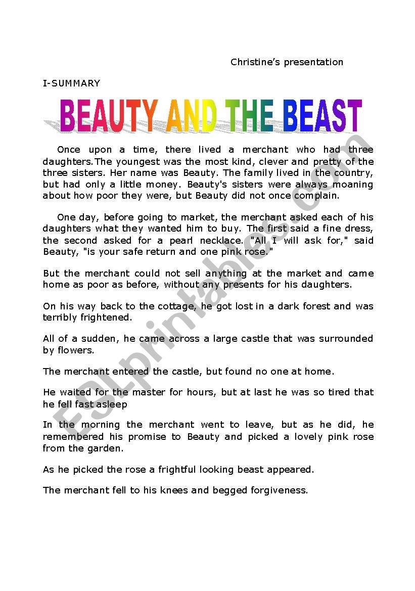 story: Beauty and the Beast worksheet