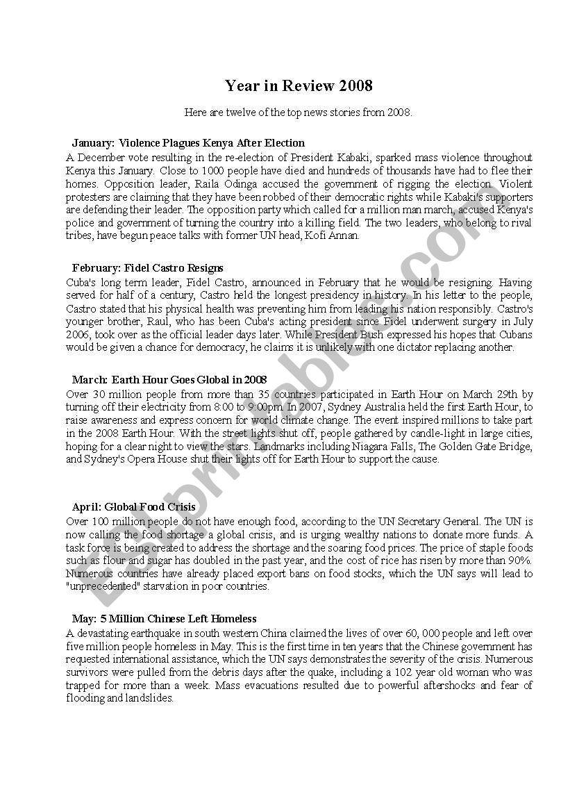 years in review 2008 worksheet