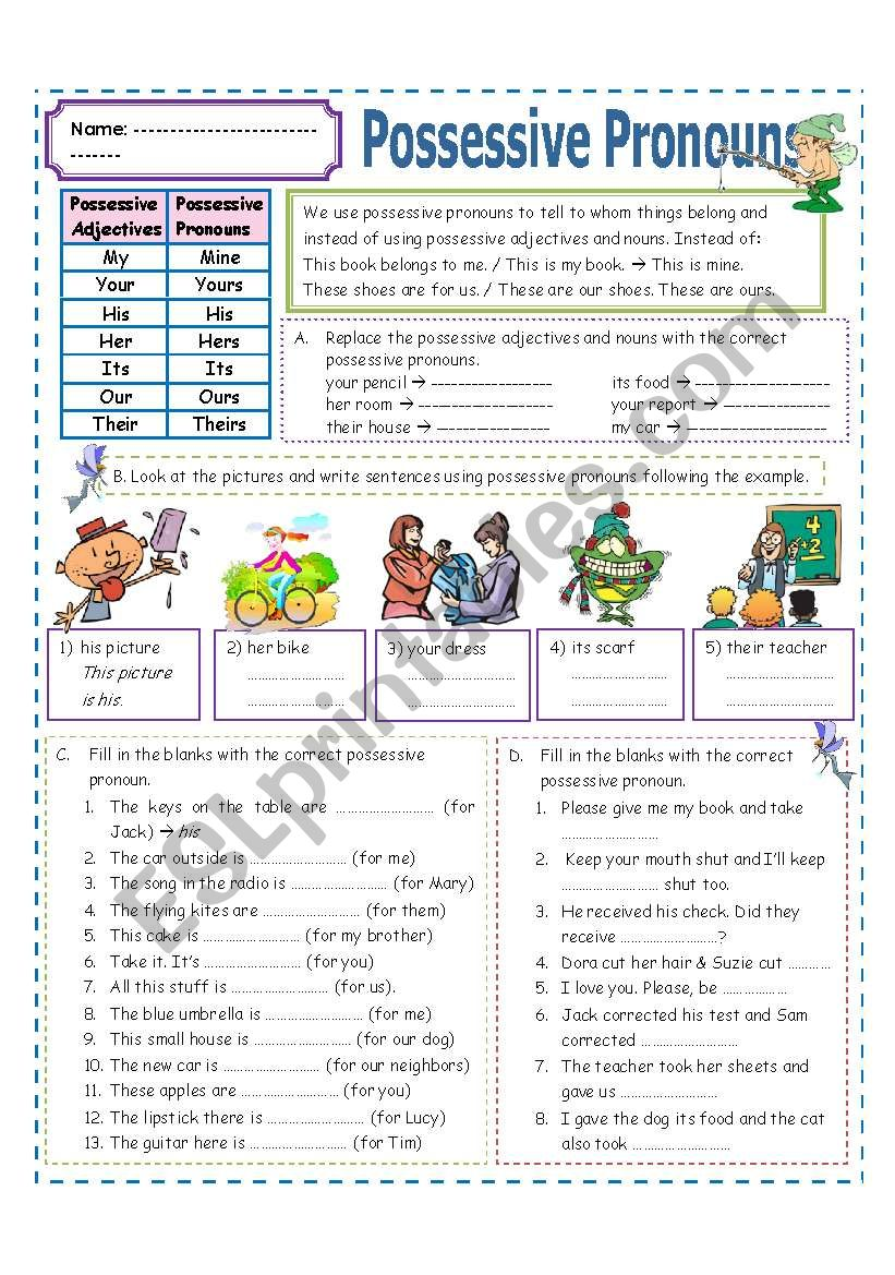 Possessive Pronouns worksheet