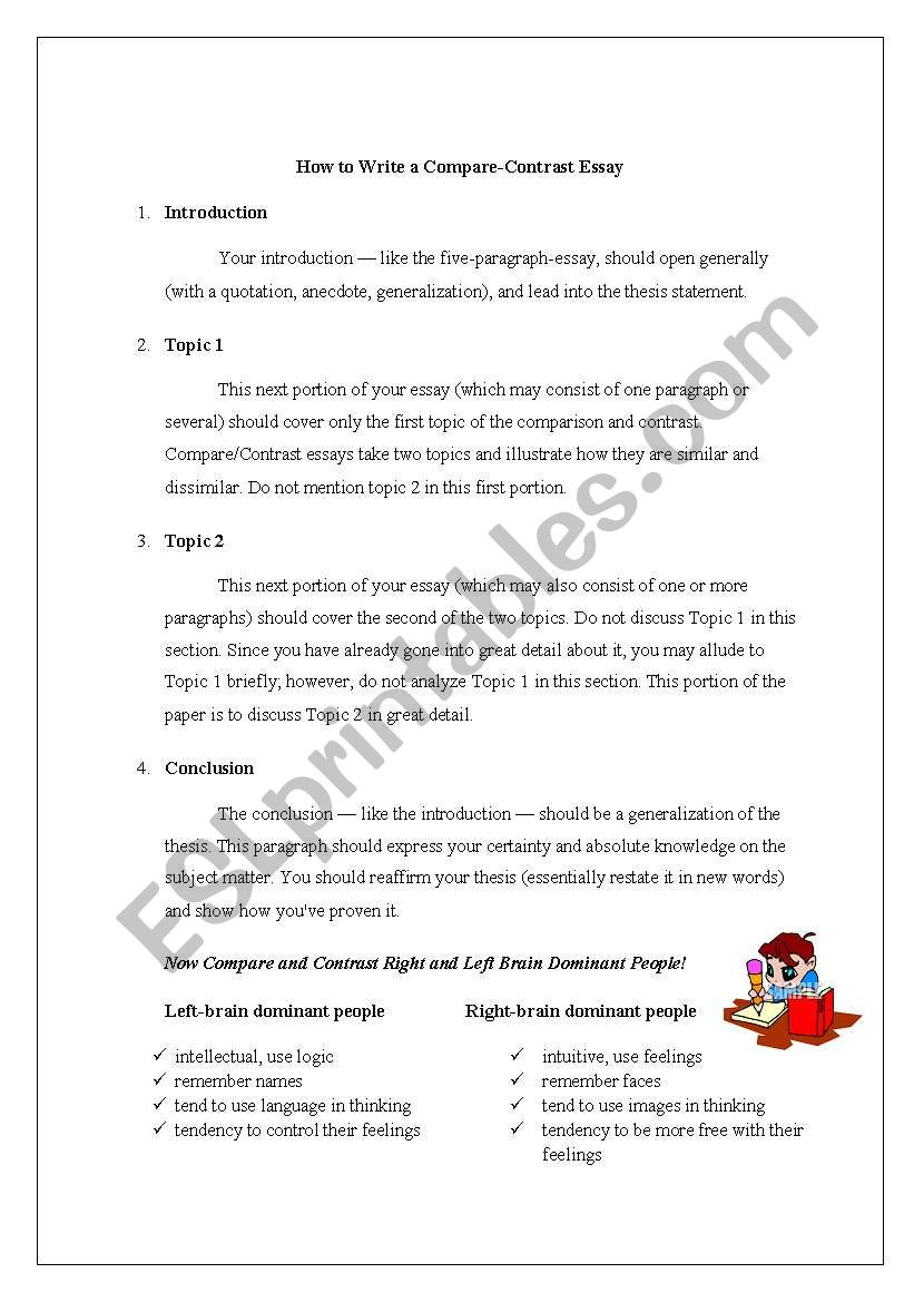 How To Write A Pare Contrast Essay ESL Worksheet By Ironik