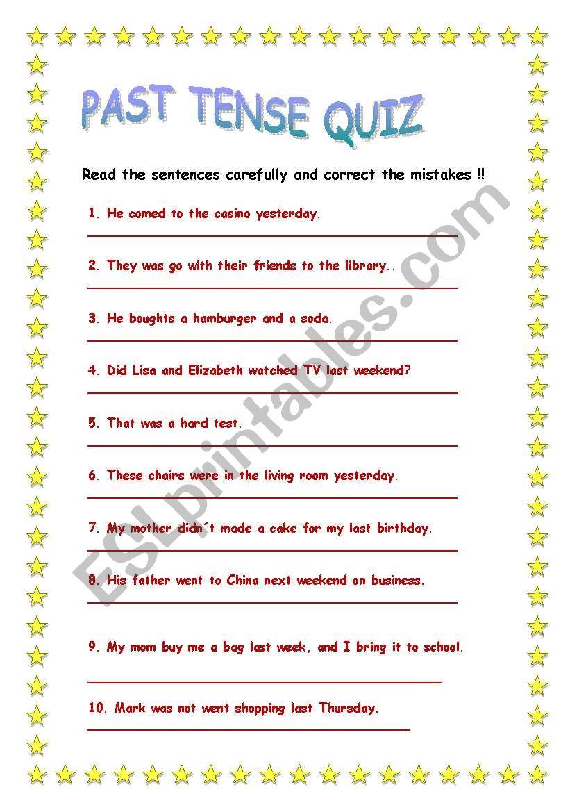 Past tense quiz worksheet