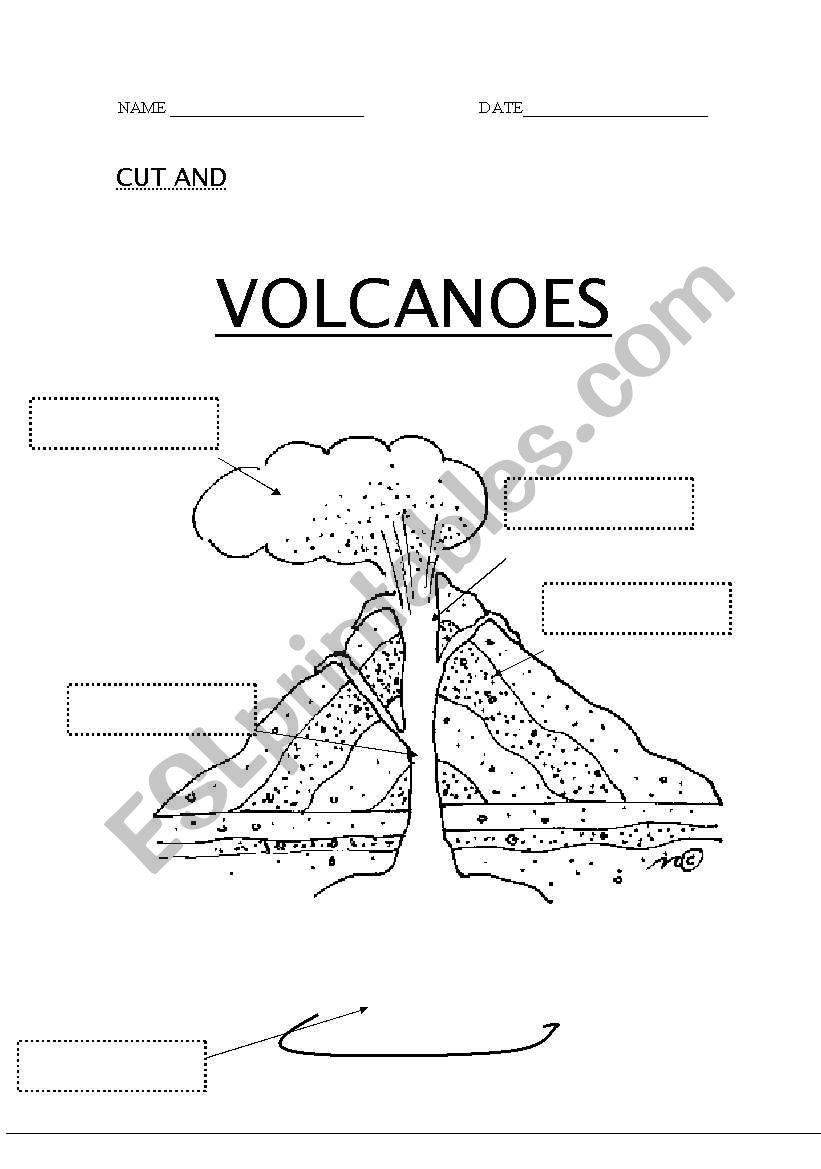English Worksheets Volcanoes