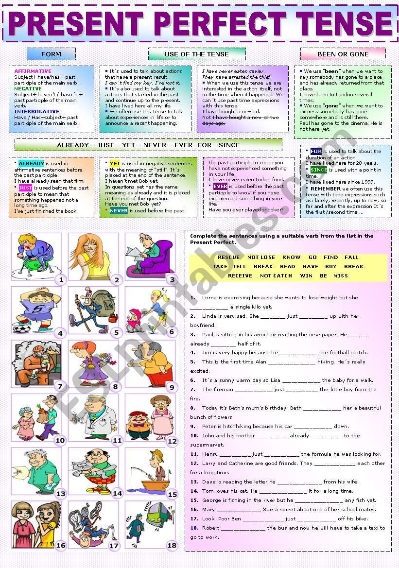 THE PRESENT PERFECT TENSE worksheet