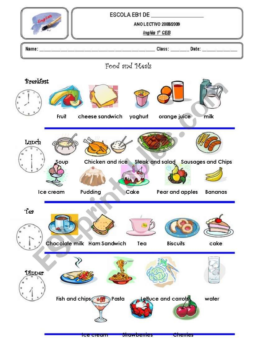 Food and Meals worksheet