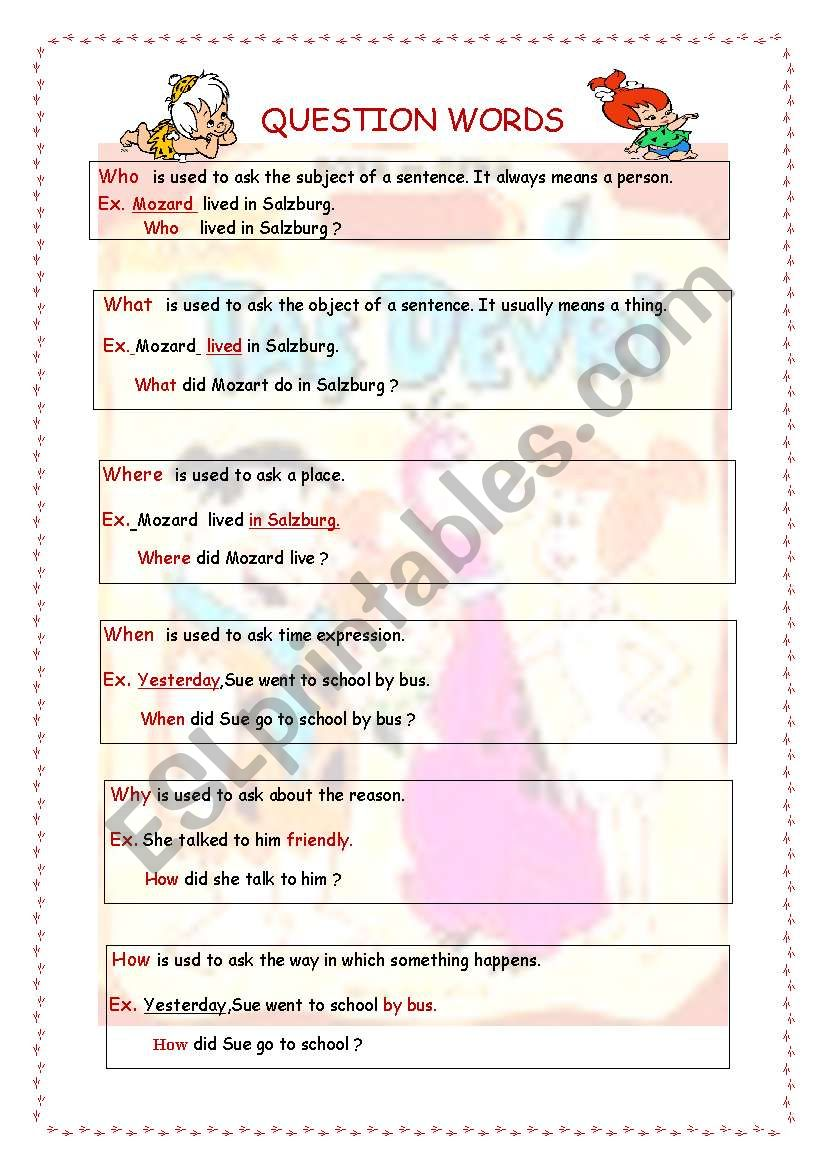 Wh Questions in the Simple Past Tense( 4 pages )