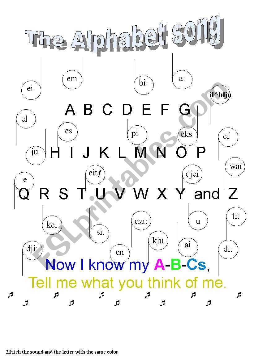 The alphabet song worksheet