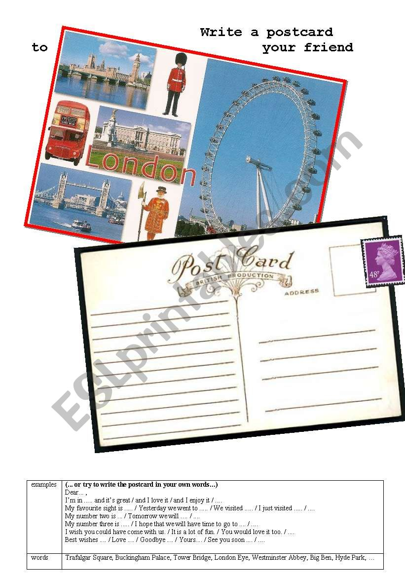 Write a postcard from London worksheet