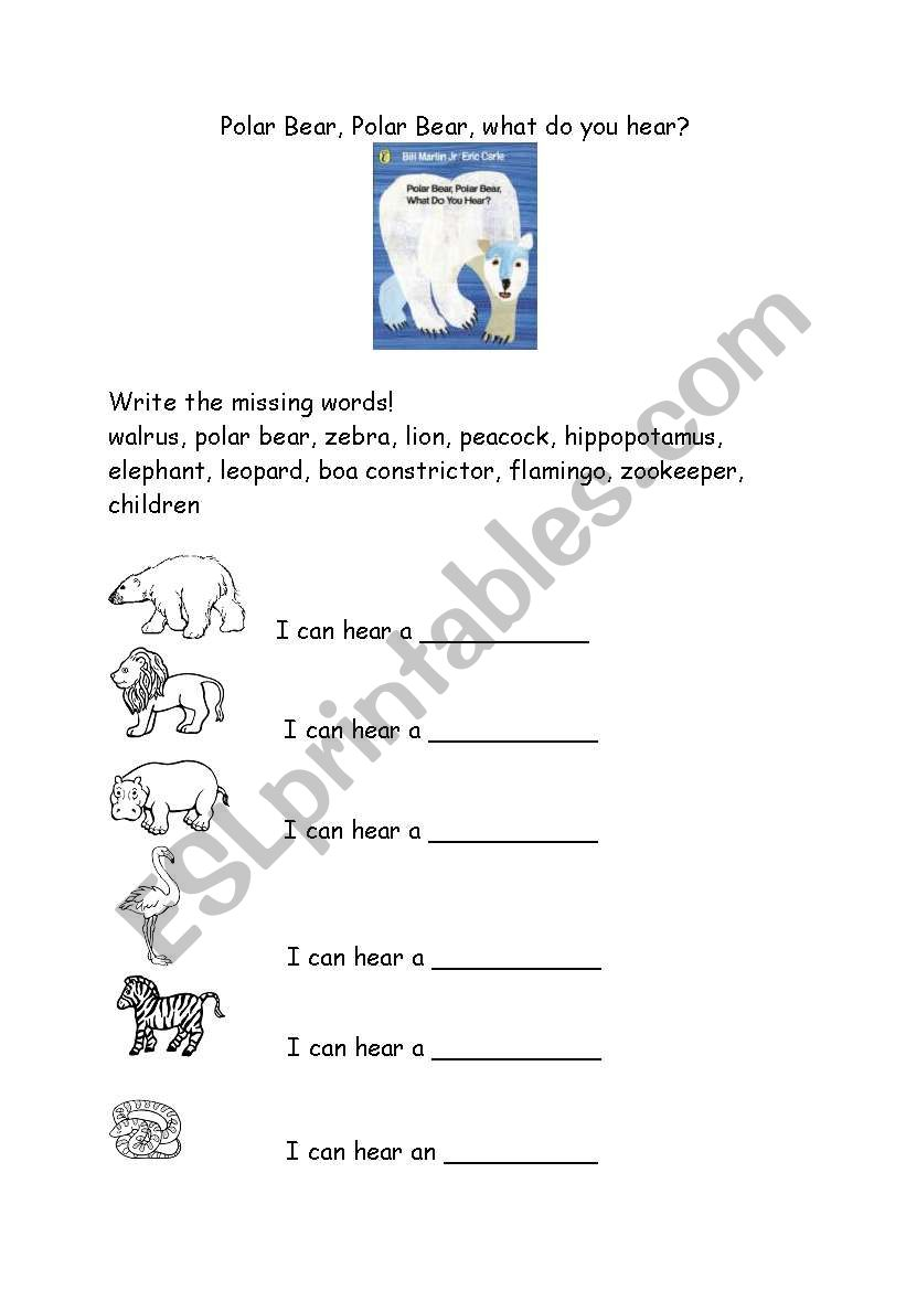 Polar Bear, Polar Bear, what do you hear - ESL worksheet by metcalf