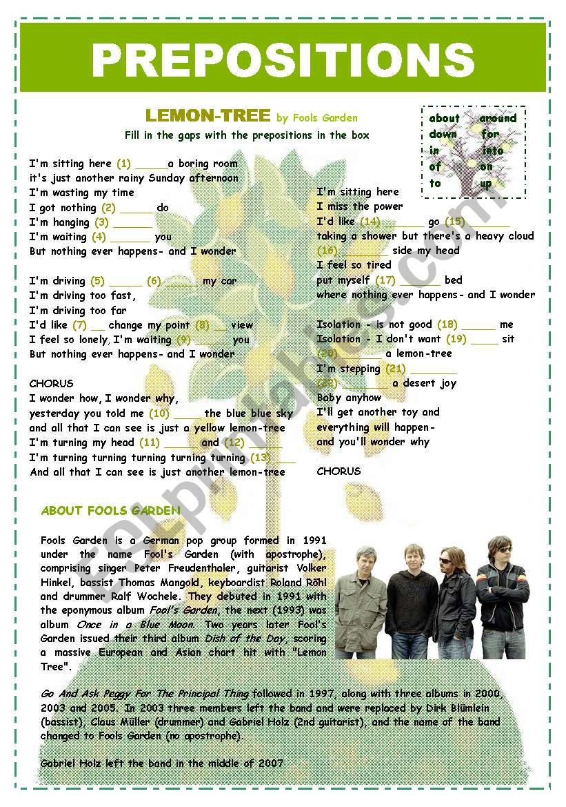 PREPOSITIONS - LEMON TREE worksheet