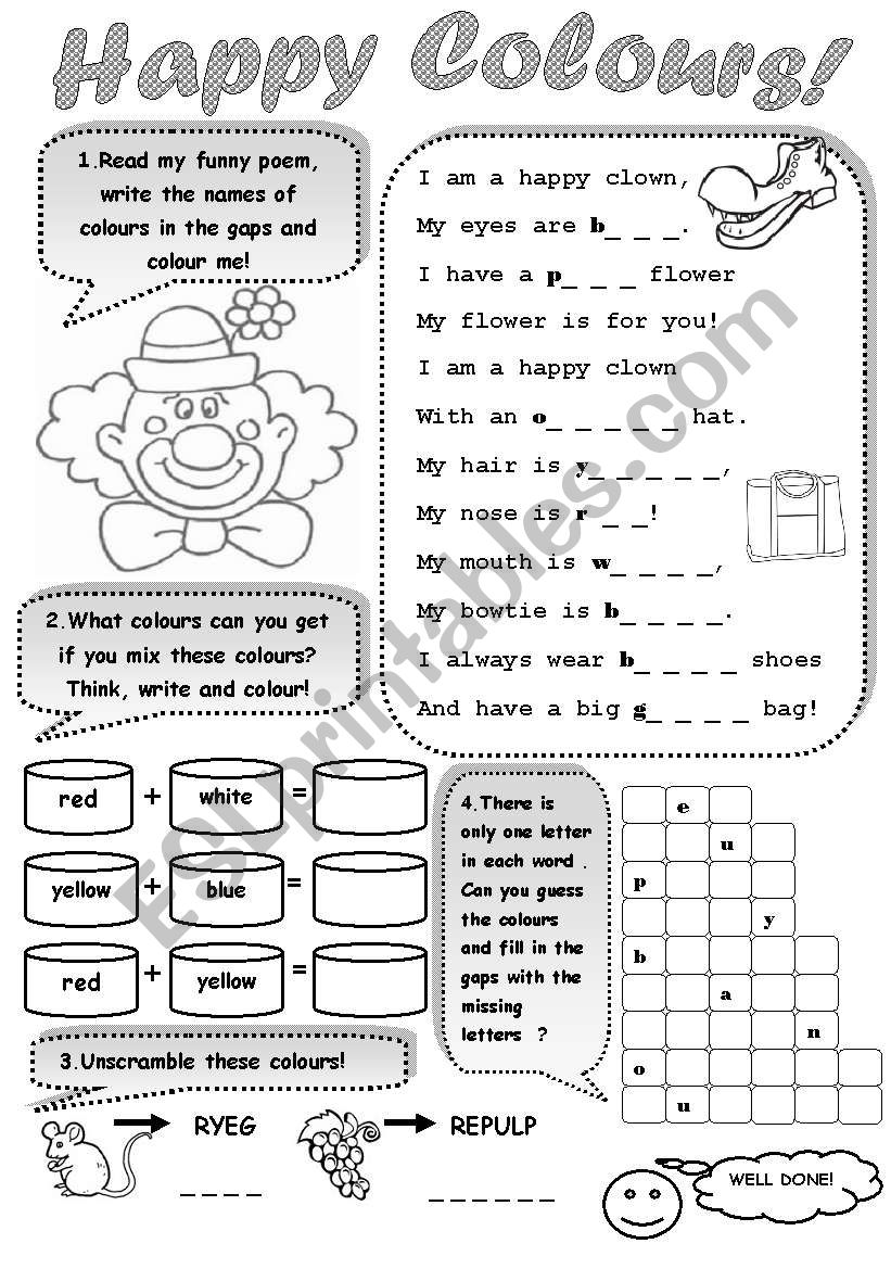 HAPPY COLOURS! - a worksheet for young learners to practise colours
