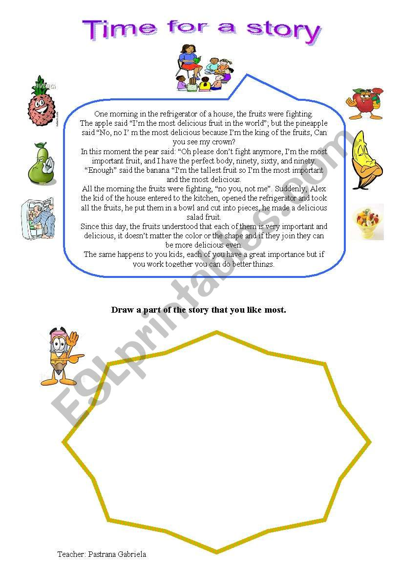 a short story about fruits worksheet