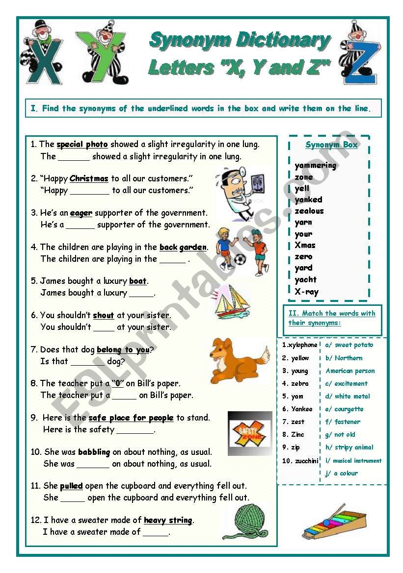Synonym Dictionary, Letters X, Y and Z - ESL worksheet by