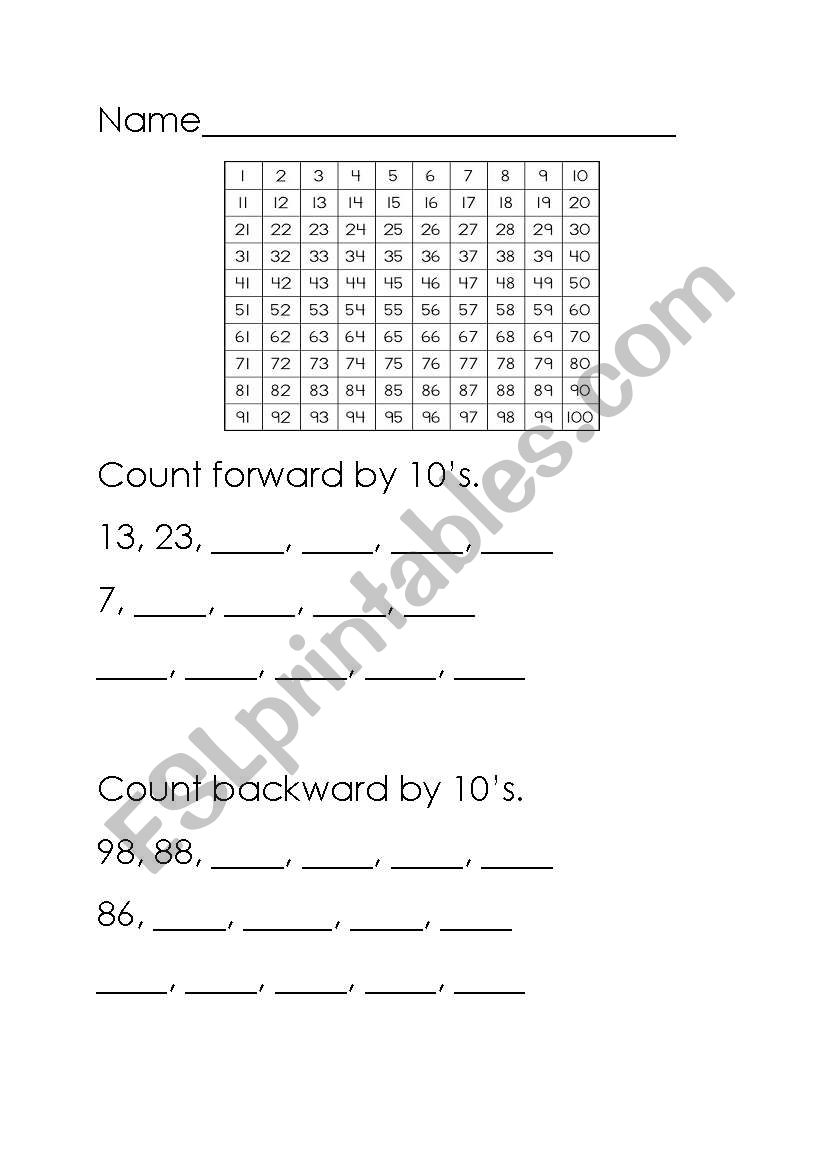 counting by 10´s worksheet