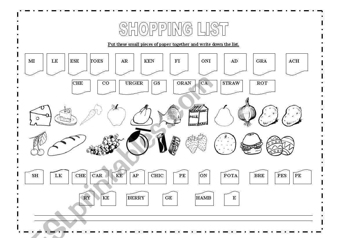 Shopping list worksheet